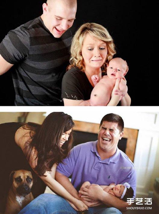 新生嬰兒和爸爸媽媽的第一次全家福合影