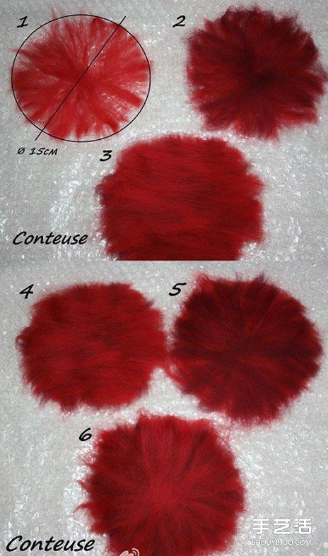 濕氈花朵胸針製作教程 濕氈胸花DIY步驟圖解