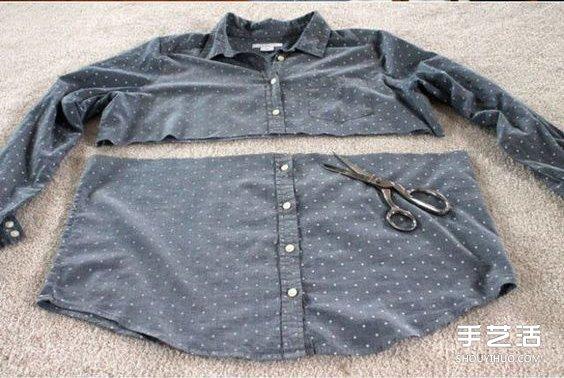 舊T恤和舊襯衫改造製作包臀裙的教程圖解
