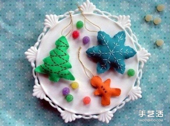 圣诞主题不织布雪花、圣诞树和姜饼人挂件制作 -  www.shouyihuo.com