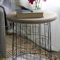 闲置金属筐废物利用制作小圆桌的方法步
