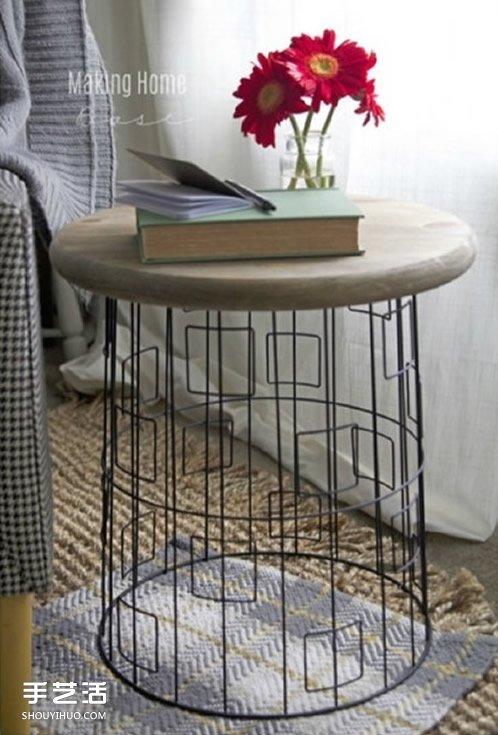 閑置金屬筐廢物利用製作小圓桌的方法步驟