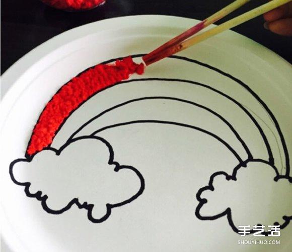 一次性餐盤畫彩虹 創意幼兒園餐盤畫製作方法