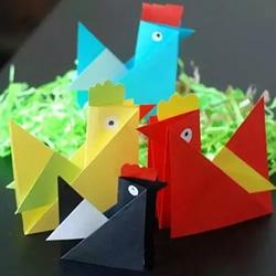 儿童折纸小公鸡方法 立体小公鸡的折法图