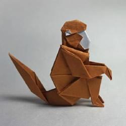 怎么折纸猴子立体 蹲坐的猴子折纸图解教