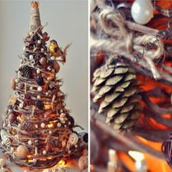 枯枝树藤等废物利用 DIY制作森系圣诞树的