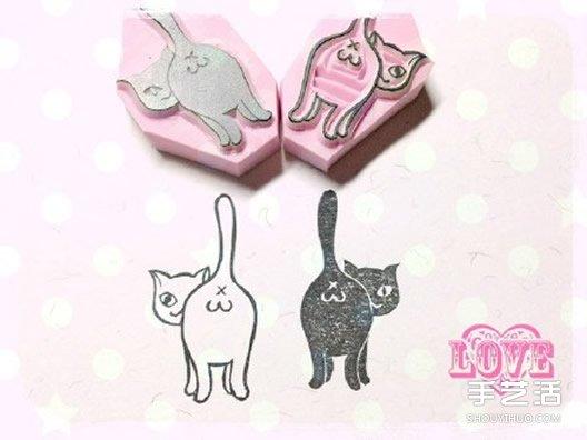 可愛清新的貓咪、鳥兒和花草橡皮章圖案素材