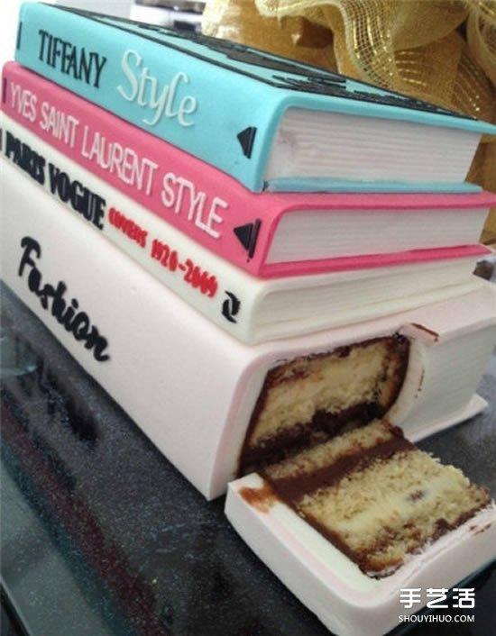 创意书蛋糕图片 看起来就像是一本本堆叠的书
