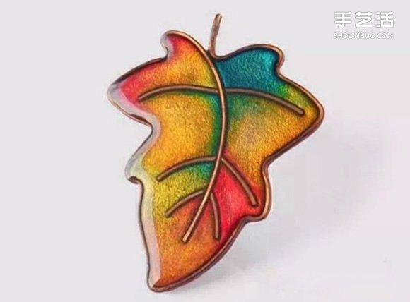 精美軟陶胸針DIY教程 軟陶樹葉胸針製作圖解