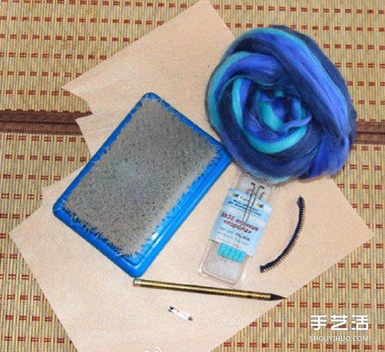 冷艷的羊毛氈花朵DIY 將毛氈和拉鏈合為一體
