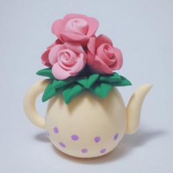 超轻粘土制作水壶花瓶插玫瑰花装饰摆件