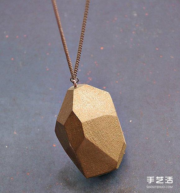 木塊切割出多面體 DIY製作時尚項鏈墜子