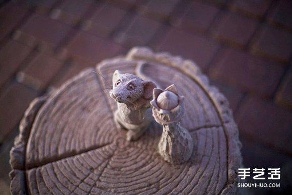 栩栩如生而充滿童話氛圍的象鼠下棋造型沙雕