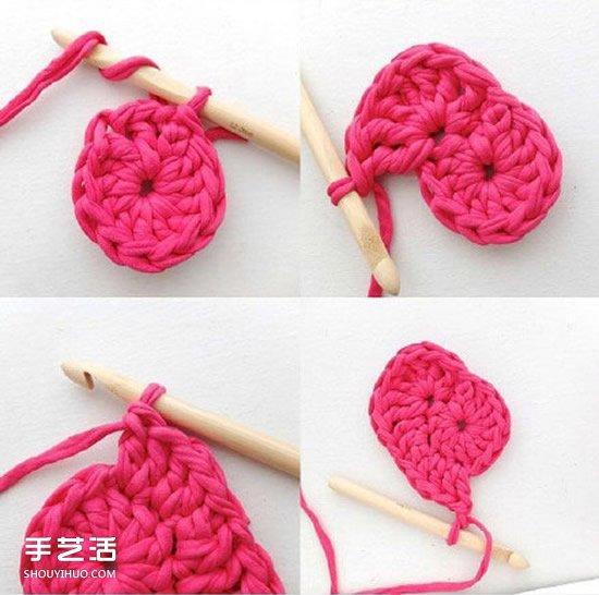 鉤針編織漂亮愛心收納筐的方法圖解教程