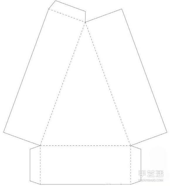 三角形盒子展开图_三角形点心盒的折法 折纸三角形点心盒展开图_手艺活网