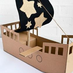 瓦楞纸海盗船手工制作 儿童玩具船模型