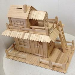 雪糕棒DIY两层楼房屋模型 雪糕棍房子制作
