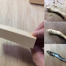 做得太像了!一不小心咬断牙的木雕小鱼干