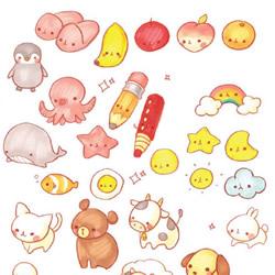 手账素材简笔画 包括动物食物爱心及生活