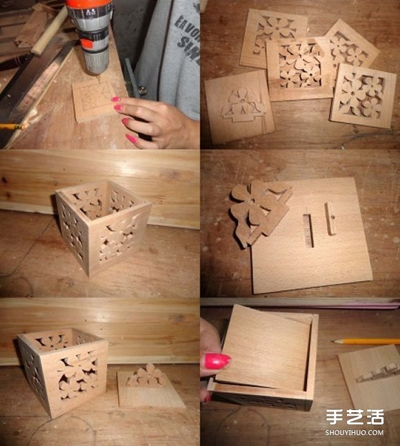 自制diy纸巾盒_木头盒子制作方法 镂空带盖木盒的做法图解_手艺活网