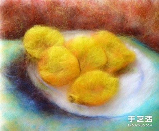 宛如油画般的水果羊毛毡画 具有羊毛独特质感 -  www.shouyihuo.com
