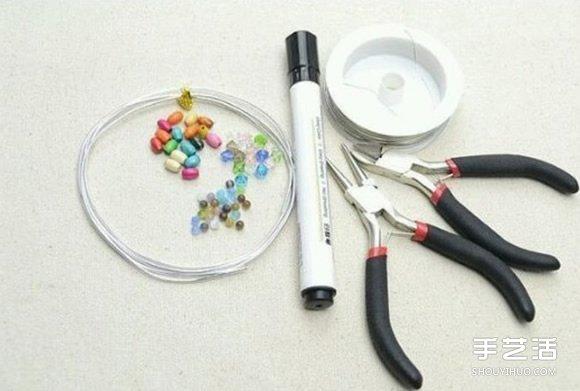 繞線串珠手鐲教程 簡單金屬絲串珠手鐲DIY圖解