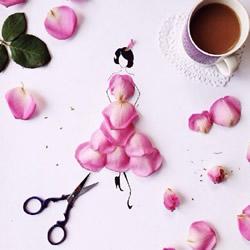 创意花瓣拼画DIY图片 简单画出神态各异的