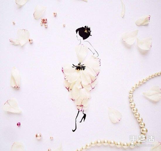 山水简单画作_创意花瓣拼画DIY图片 简单画出神态各异的美女_手艺活网