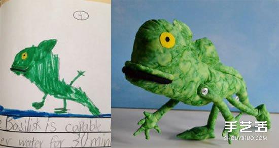將4歲兒子塗鴉作品製作成毛絨玩具 愛心滿滿
