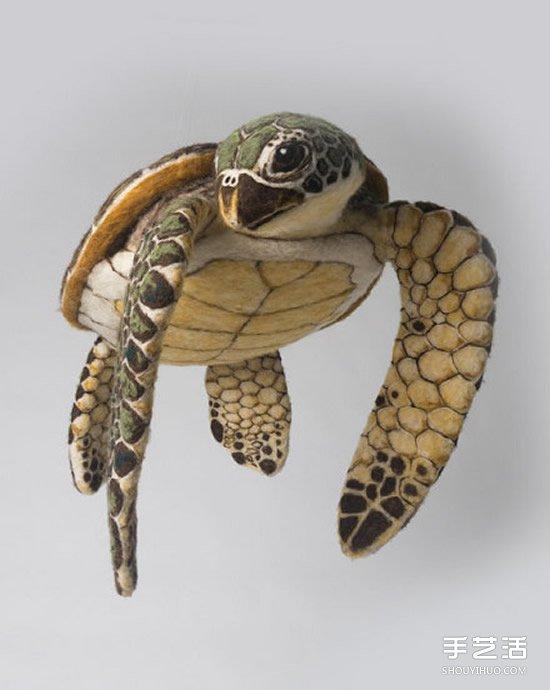 超逼真的羊毛氈海龜 讓人不敢置信的手工作品