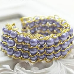 玻璃珠串珠手镯DIY教程 华丽三排串珠手镯