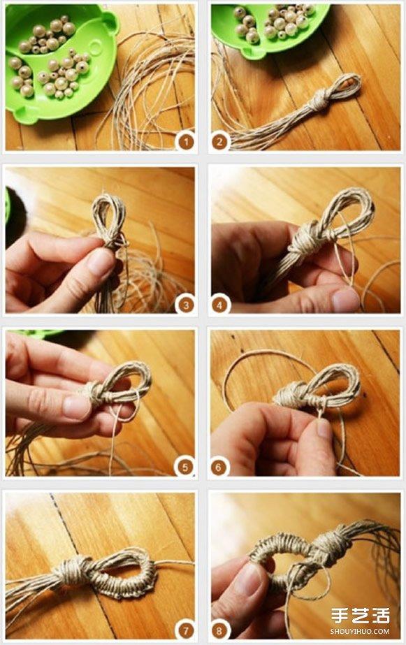 森繫繩編串珠手鏈DIY圖解教程 隨意自然風格