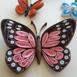 漂亮的衍纸蝴蝶图片 手工卷纸蝴蝶作品欣
