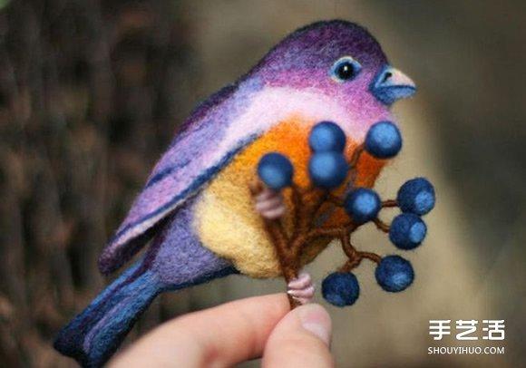 羊毛氈小鳥的製作方法 精美小鳥手工藝品DIY