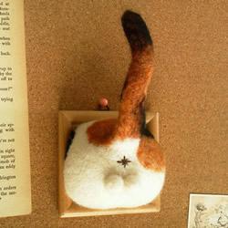 猫咪蛋蛋羊毛毡作品 直接挂墙上太害羞了吧!