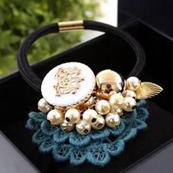珍珠装饰发绳DIY图解 串珠果实发绳手工制作
