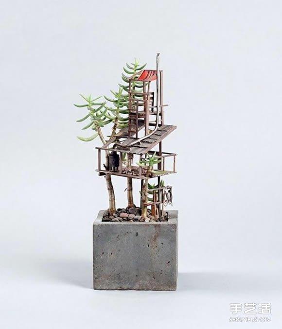 积木搭建图片_迷你树屋模型图片 在盆栽上搭造出小小世界_手艺活网