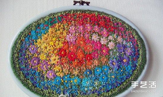 绣棚手工刺绣图片 繁花似锦的图案让人陶醉 -  www.shouyihuo.com