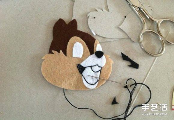 不織布松鼠頭像製作 詳細手工布藝松鼠飾品