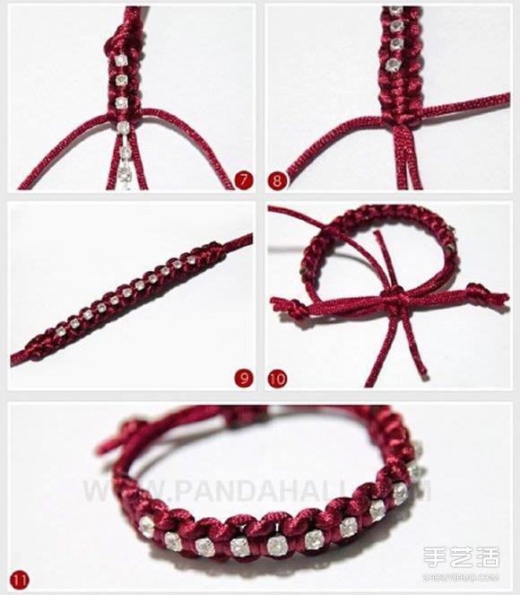 流蘇花紋紅繩手鏈編法 大氣紅繩手鏈編織圖解
