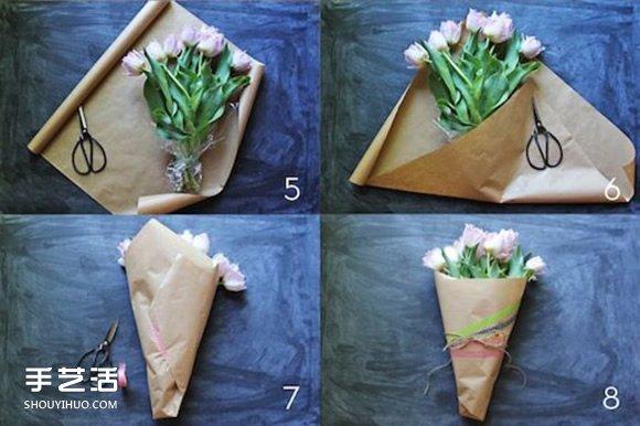 纸包花的包法_牛皮纸包花的方法图解 鲜花的包法牛皮纸教程_手艺活网