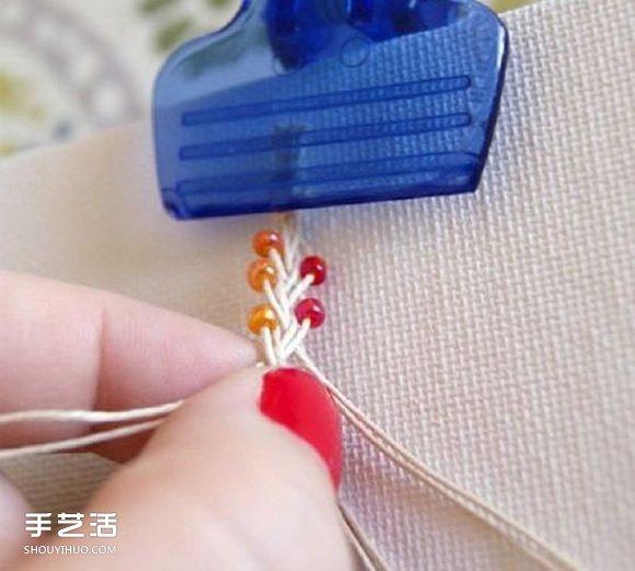 兩色串珠手鏈的編織方法 非常可愛小清新