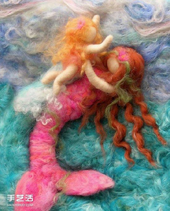 讓美人魚形象盡毀的羊毛氈作品圖片