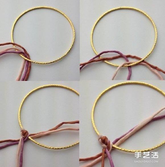 手工改造金手鐲 民族風手鐲的編織方法圖解