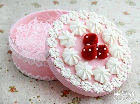 圓形塑料盒廢物利用DIY製作蛋糕形狀飾品盒