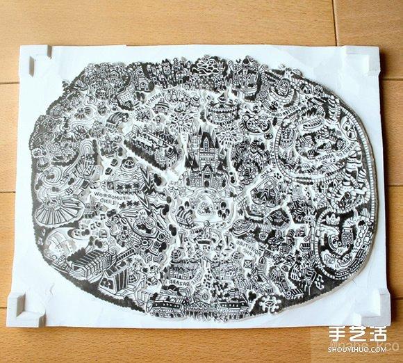 將東京迪士尼整個園區直接縮小成細緻橡皮章