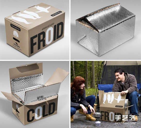 廢棄紙箱和錫箔材料手工DIY製作便攜冰箱