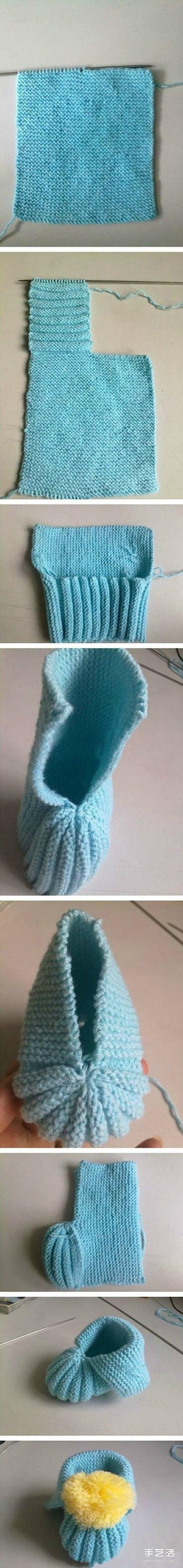 毛线宝宝鞋的织法_婴儿鞋的毛线编织方法 婴儿毛线鞋织法图解(3)_手艺活网