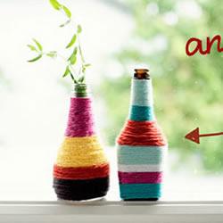 毛线绕线制作酒瓶花瓶 酱油瓶绕线手工DIY花瓶