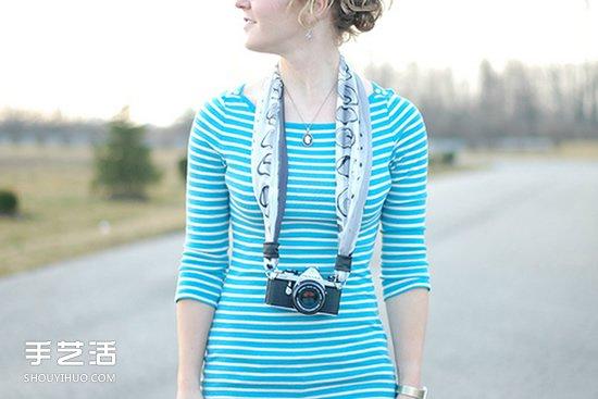 絲巾相機帶做法圖解 手工絲巾製作相機帶教程